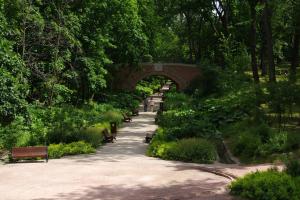 Аллея с гротескным мостом