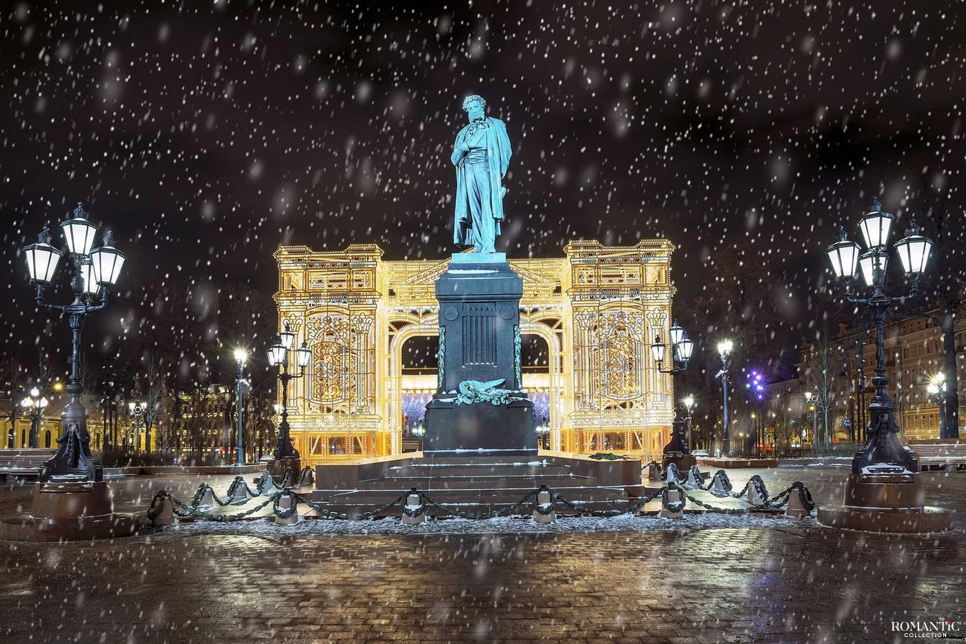Памятник Пушкину зимой