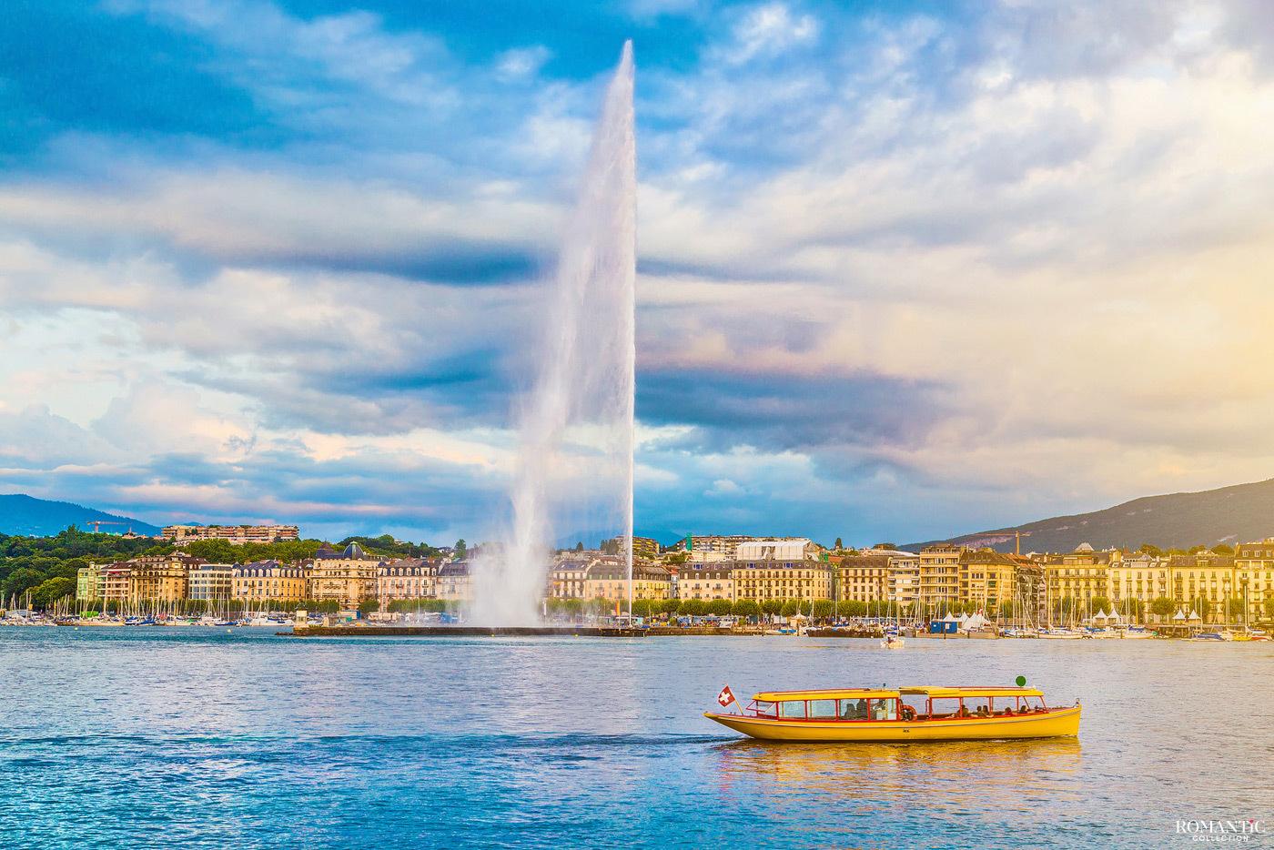 Фонтан Же-До. Женева, Швейцария