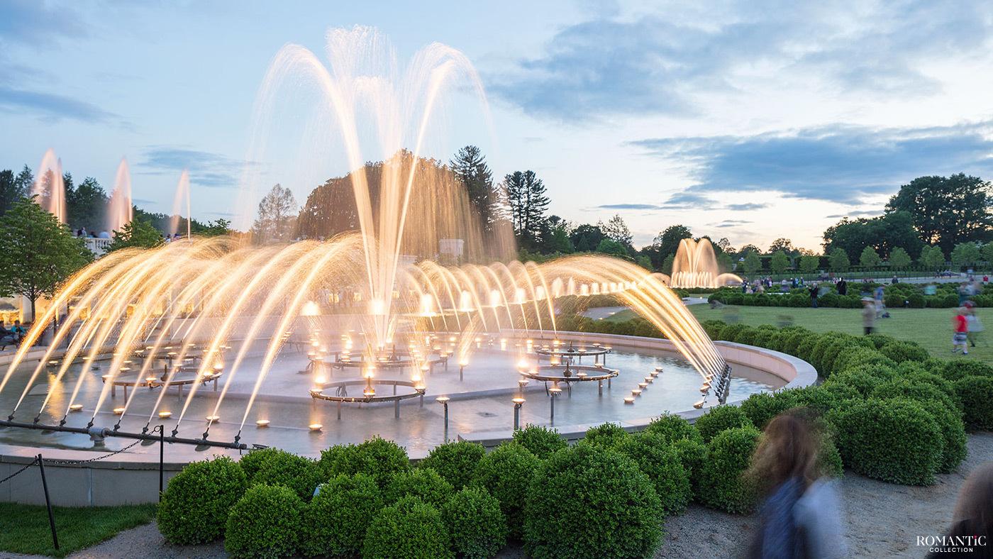 Фонтаны Longwood Gardens. Кеннет Сквер, Пенсильвания
