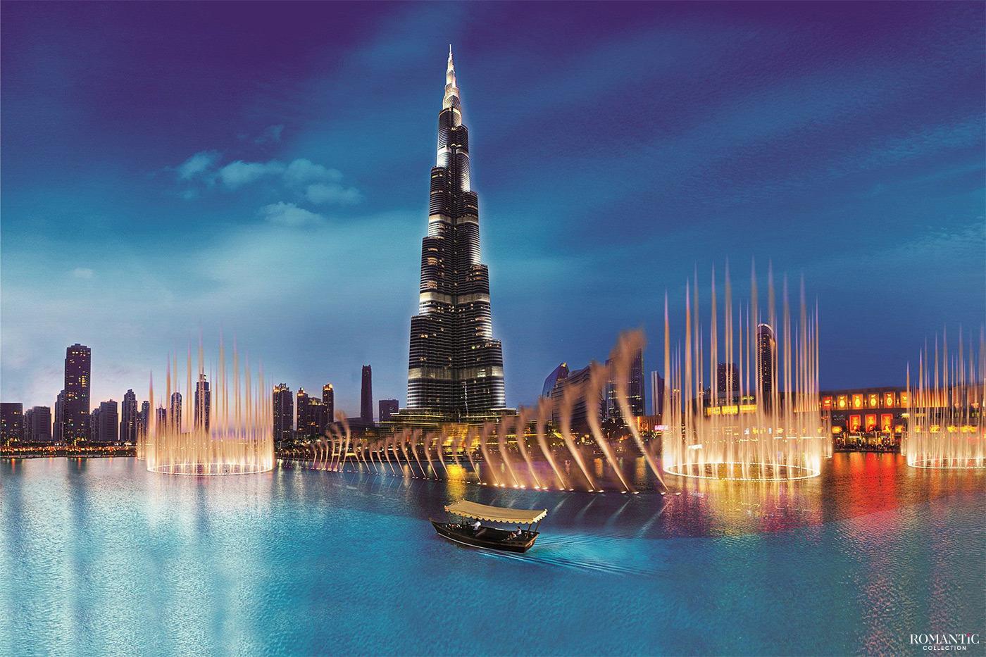 Фонтан Бурдж-Халифа. Дубай, ОАЭ
